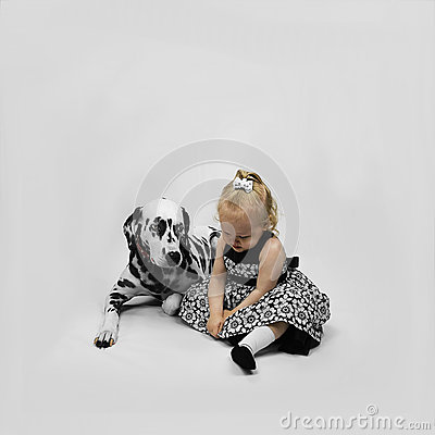 Free Little Girl And Dog Dalmatian Stock Images - 57549914