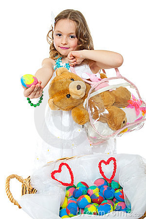 Free Little Girl And Easter Eggs Stock Images - 18997354