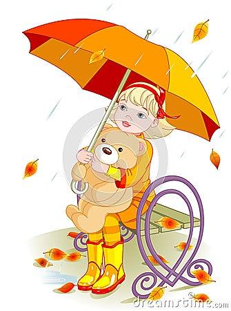 Free Little Girl And Teddy Bear Under Rain Royalty Free Stock Photo - 16968945