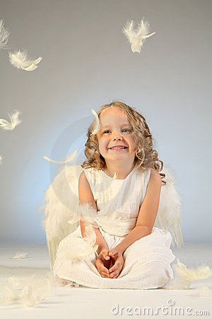Little girl angel portrait