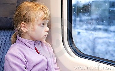 Little girl as a passenger of high speed train