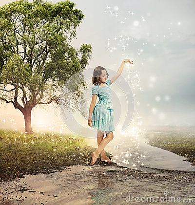 Free Little Girl At A Shining Brook Stock Photo - 26739700