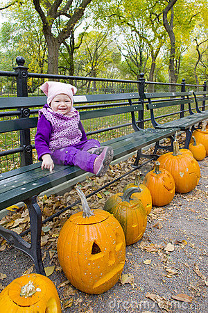 Little girl in autumnal Central Park