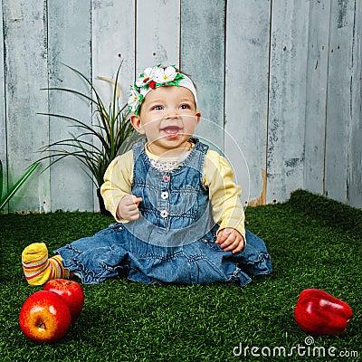 Little girl in the backyard