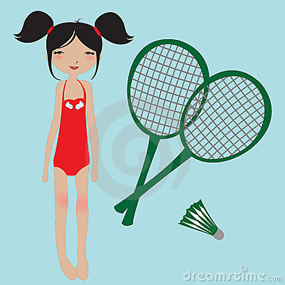Little girl and badminton rackets