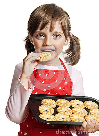 Free Little Girl Baking Christmas Cookies Royalty Free Stock Images - 26613429
