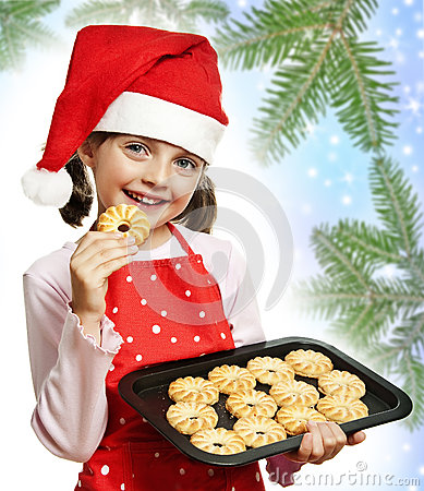 Free Little Girl Baking Christmas Cookies Royalty Free Stock Photos - 26613598