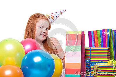 Little  girl with balloons and gift box