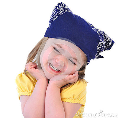 Little Girl with Bandana Hat on White