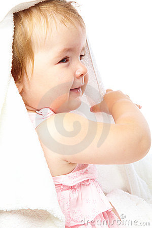 Little girl in bath towel