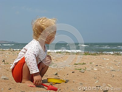 Little Girl On The Beach Royalty Free Stock Images - Image: 26210999