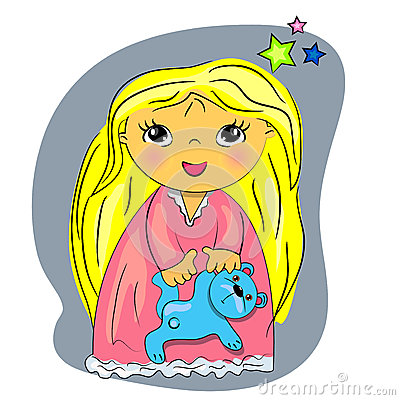 Little girl bed time. cartoon child playing with t