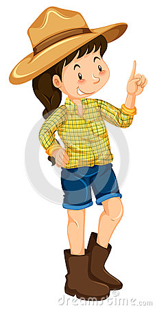 Little girl with big hat and boots Vector Illustration