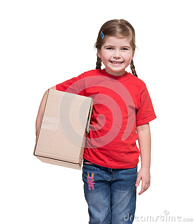 Little girl with big parcel box