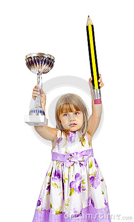 Little girl with big pencil and sport cup