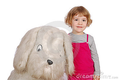 Little girl with big puppy toy