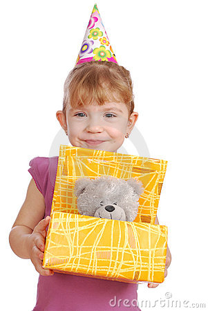 Little girl with birthday gift