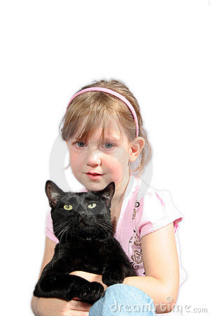 Little girl with black cat