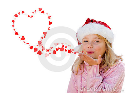 Little girl blowing love heart kisses