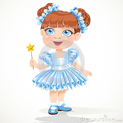 Little girl in a blue  ballet tutu and magic wand