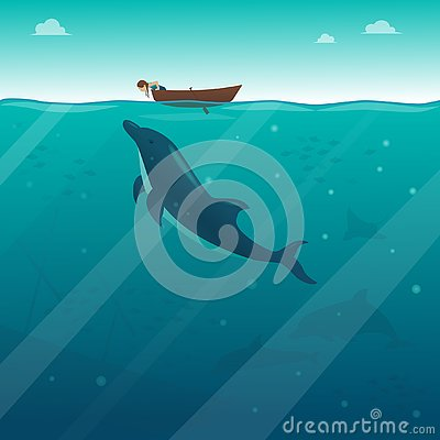 A little girl in a boat looking into the water at the Dolphin Vector Illustration