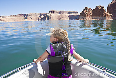 Little Girl on a boat ride at Lake Powell