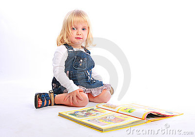 Little girl with a book Stock Photo