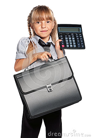 Little girl with calculator