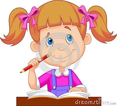 Free Little Girl Cartoon Studying Royalty Free Stock Image - 34606556