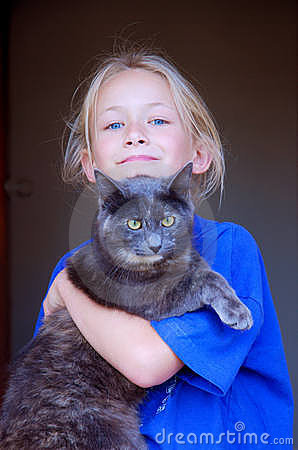 Little girl with cat pet
