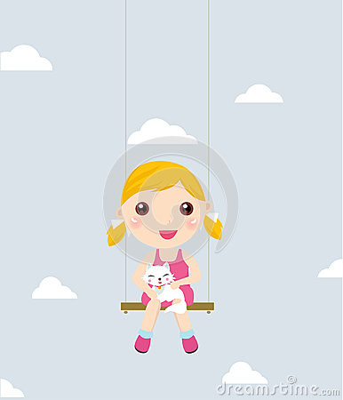 Little girl and cat on a swing