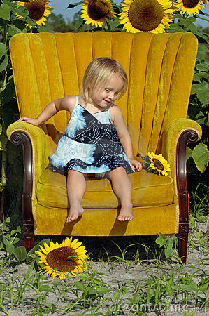 Little girl in chair