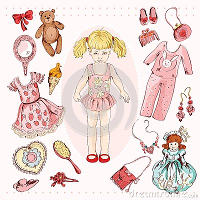 Free Little Girl Character Accessories Set Stock Photos - 45548333