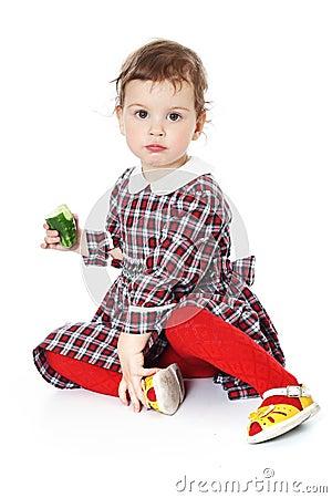Little girl in checkered dress