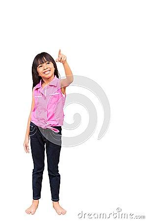 Little girl is choosing empty whiteboard