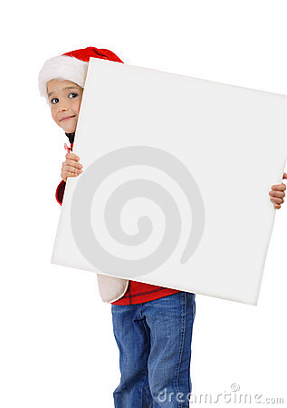 Little girl in Christmas hat with an empty banner