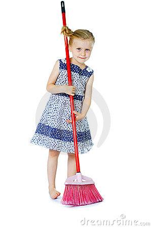 Little girl cleaning with broom
