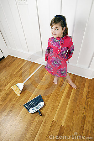 Little Girl Cleaning / Sweeping House