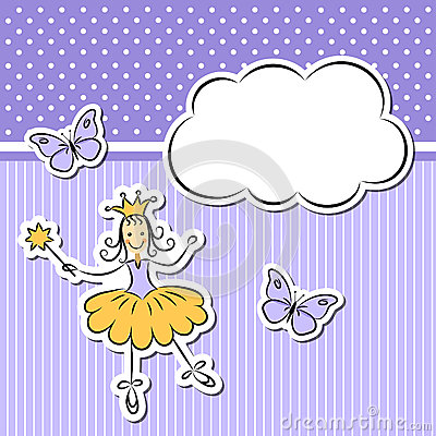 Little girl with cloud and butterflies