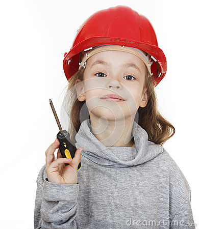 Girl in the construction helmet with a screwdriver.