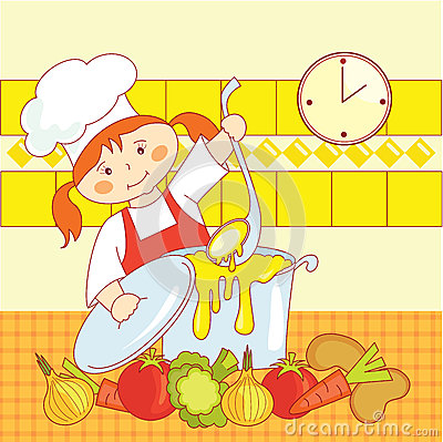 Little girl cook