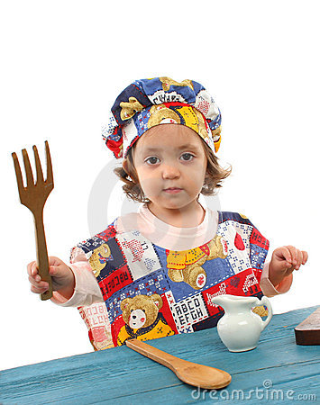 Free Little Girl Cooking Dressed As A Chef Royalty Free Stock Image - 763206