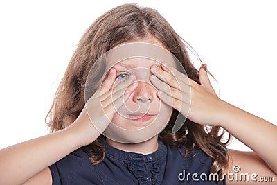 Little Girl Covering Eyes