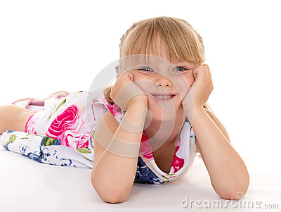 Little girl covers her head.