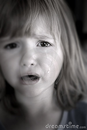 Little Girl Crying With Tears Royalty Free Stock Photo