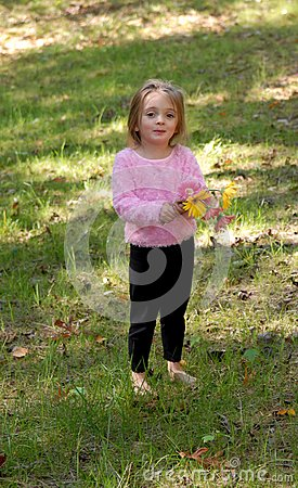 Little Girl with Daisy Bouquet