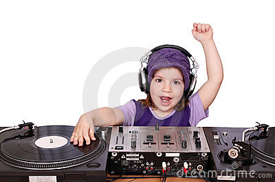 Little girl dj fun play music