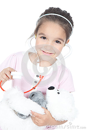 Free Little Girl Doctor With Teddy Bear Stock Photo - 25182350