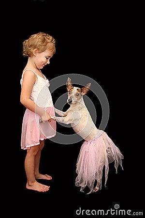 Little Girl and Dog Ballerinas