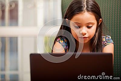 Little girl doing some homework